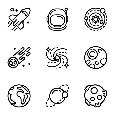 Space galaxy icon set. Outline set of 9 space galaxy vector icons for web design isolated on white background