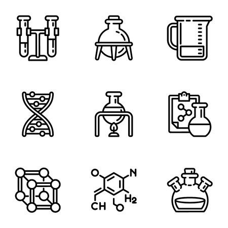 Jeu d'icônes de laboratoire chimique. Ensemble de contour de 9 icônes vectorielles de laboratoire chimique pour la conception web isolé sur fond blanc