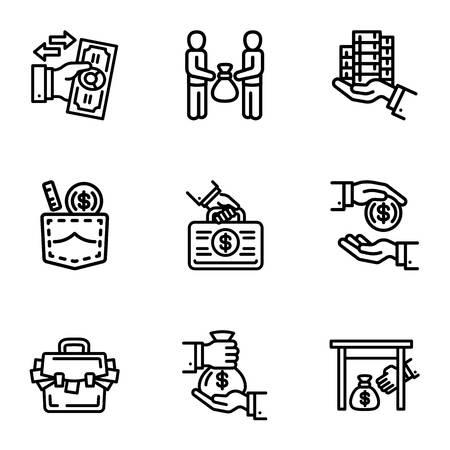 Korruption Geld-Icon-Set. Umreißen Sie einen Satz von 9 Korruptionsgeld-Vektorsymbolen für das Webdesign, die auf weißem Hintergrund isoliert sind Vektorgrafik