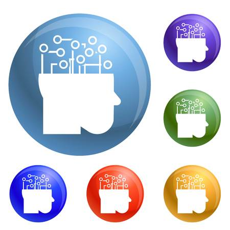 Smart brain mind icons set vector 6 color isolated on white background