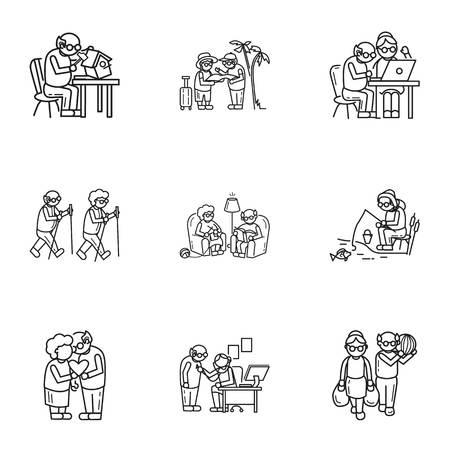 Insieme dell'icona di ricreazione persona anziana. Set di 9 icone vettoriali per la ricreazione di persone anziane per il web design isolato su sfondo bianco Vettoriali