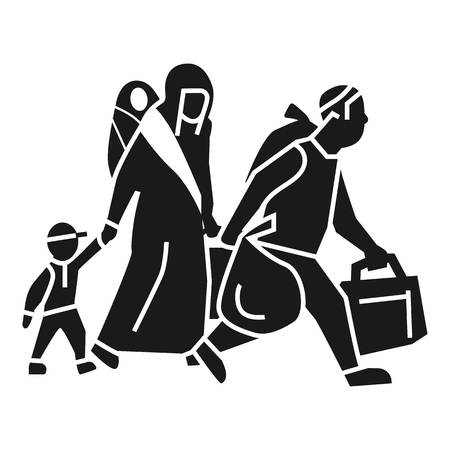 Migrant family leave home icon. Simple illustration of migrant family leave home vector icon for web design isolated on white background 向量圖像