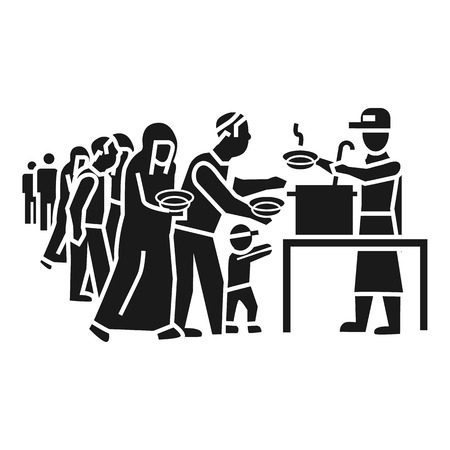Refugee people take food icon. Simple illustration of refugee people take food vector icon for web design isolated on white background