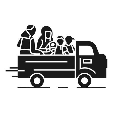 Truck homeless family icon. Simple illustration of truck homeless family vector icon for web design isolated on white background