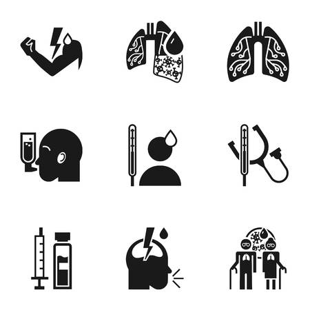 Human pneumonia icon set. Simple set of 9 human pneumonia vector icons for web design isolated on white background