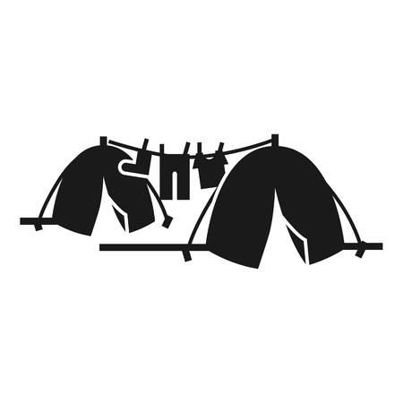 Icône de camp de tentes sans-abri. Simple illustration de l'icône vecteur camp de tentes sans-abri pour la conception web isolé sur fond blanc