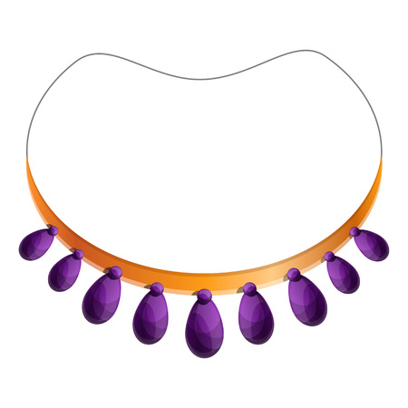 Purple necklace icon. Cartoon of purple necklace vector icon for web design isolated on white background