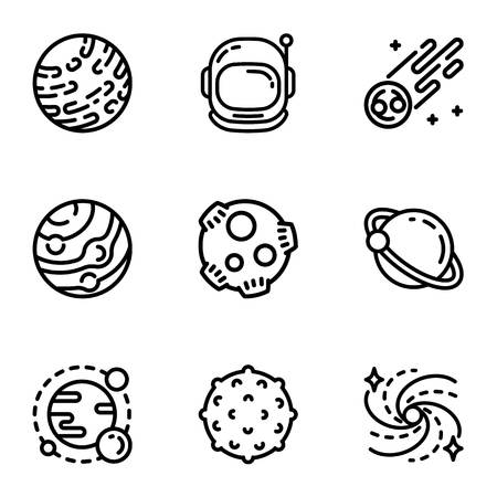 Space astronomy icon set. Outline set of 9 space astronomy vector icons for web design isolated on white background