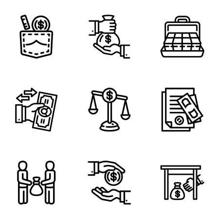 Bribery business money icon set. Outline set of 9 bribery business money vector icons for web design isolated on white background