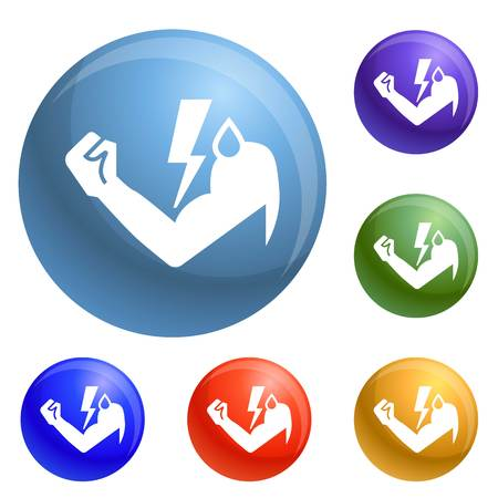 Power hand bolt icons set vector 6 color isolated on white background