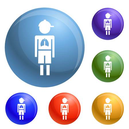 Girl boy pneumonia virus icons set vector 6 color isolated on white background