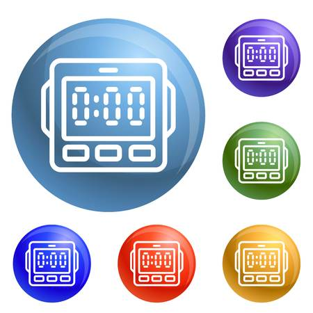 Digital kitchen timer icons set 6 color isolated on white background