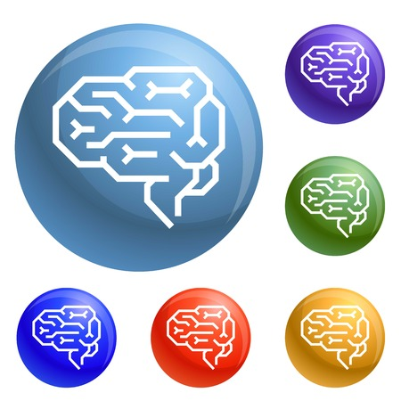 Machine brain icons set 6 color isolated on white background