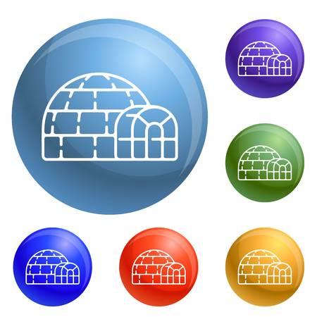Polar igloo icons set 6 color isolated on white background
