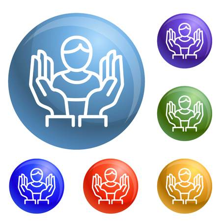 Customer care icons set 6 color isolated on white background Banco de Imagens