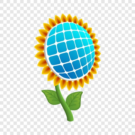 Sun flower energy icon. Realistic illustration of sun flower energy icon for web design on transparent background
