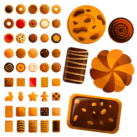 Biscuit icon set. Cartoon set of biscuit icons for web design