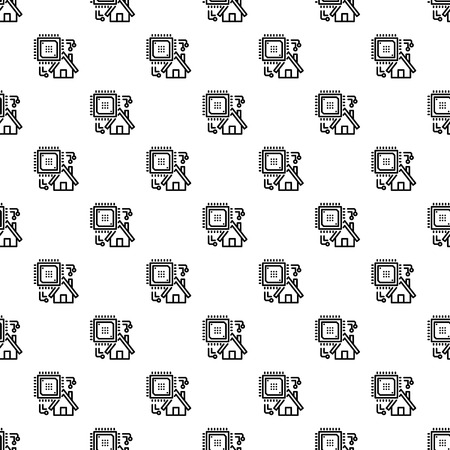 Smart house pattern seamless repeat background for any web design Stock Photo
