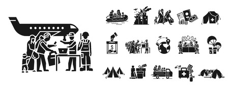 Migrant icon set. Simple set of migrant icons for web design on white background