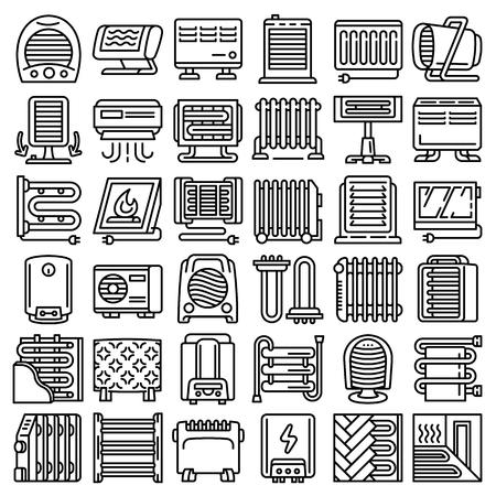 Elektrische kachel pictogramserie. Overzichtsreeks elektrische kachel vector iconen voor webdesign geïsoleerd op een witte achtergrond Vector Illustratie
