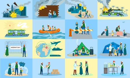Migranten-Banner-Set. Flache Illustration des Migrantenvektorfahnensatzes für Webdesign Vektorgrafik