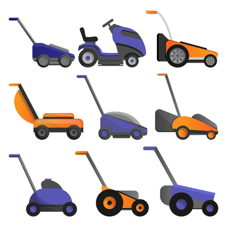 Lawnmower icon set. Cartoon set of lawnmower vector icons for web design