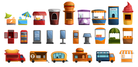 Street kiosk icon set. Cartoon set of street kiosk vector icons for web design