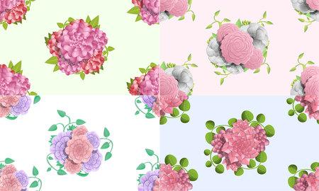 Camellia flower pattern set. Cartoon illustration of camellia flower vector pattern set for web design Illustration