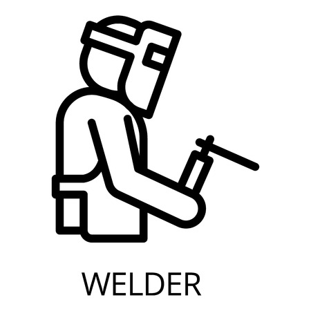 Welder icon. Outline welder vector icon for web design isolated on white background Vettoriali