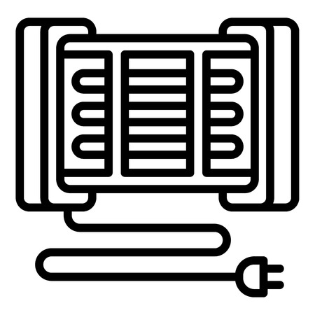Modern home heater icon. Outline modern home heater vector icon for web design isolated on white background