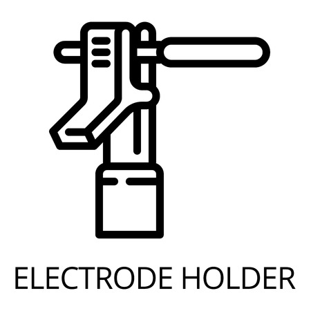Metal electrode holder icon. Outline metal electrode holder vector icon for web design isolated on white background