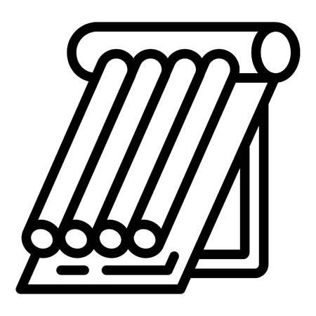 Symbol für die Warmwasserbereitung des Solarpanels. Umreißen Sie das Vektorsymbol für die Wasserheizung von Solarkollektoren für das Webdesign, das auf weißem Hintergrund isoliert ist