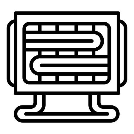 Small heater icon. Outline small heater vector icon for web design isolated on white background