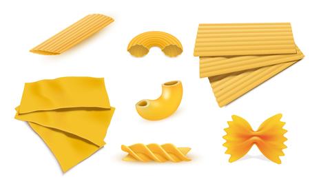 Macaroni pasta icon set. Realistic set of macaroni pasta vector icons for web design isolated on white background