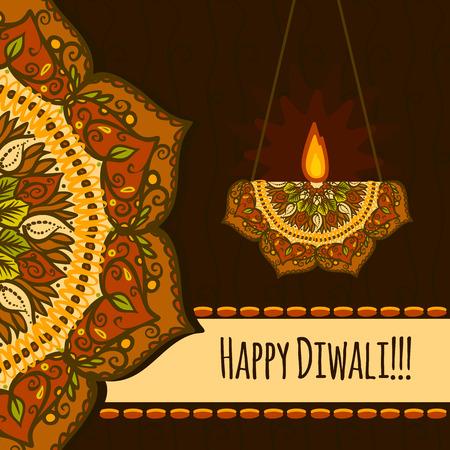 Happy diwali festival concept background. Hand drawn illustration of happy diwali festival vector concept background for web design