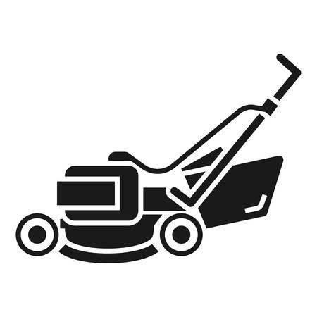 Rasenmäher-Maschinensymbol. Einfache Illustration der Vektorikone der Rasenmähermaschine für das Webdesign lokalisiert auf weißem Hintergrund