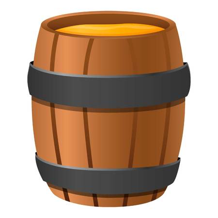 Wood honey barrel icon. Cartoon of wood honey barrel vector icon for web design isolated on white background