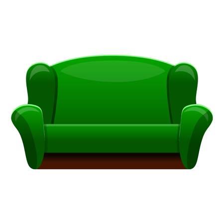 Retro green sofa icon. Cartoon of retro green sofa vector icon for web design isolated on white background