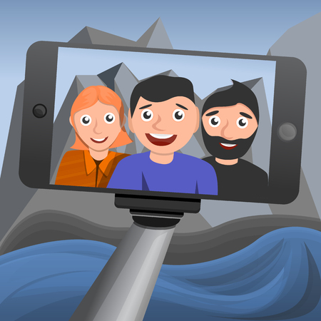 Selfie concept background. Cartoon illustration of selfie vector concept background for web design Vetores