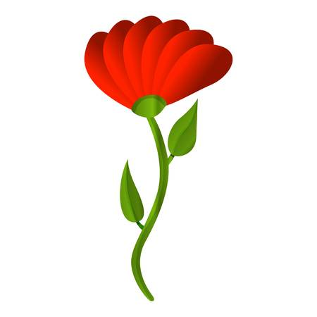 Red honey flower icon. Cartoon of red honey flower vector icon for web design isolated on white background Illustration