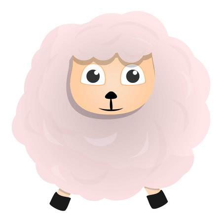 White sheep icon. Cartoon of white sheep vector icon for web design isolated on white background