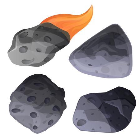 Meteoriten-Icon-Set. Karikatursatz Meteoritenvektorikonen für Webdesign