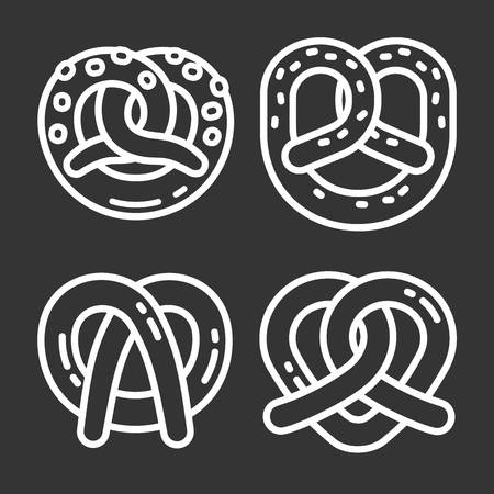 Bavarian pretzel icon set. Outline set of bavarian pretzel vector icons for web design isolated on gray background