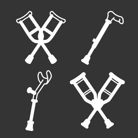 Crutches icon set. Outline set of crutches vector icons for web design isolated on gray background Illustration