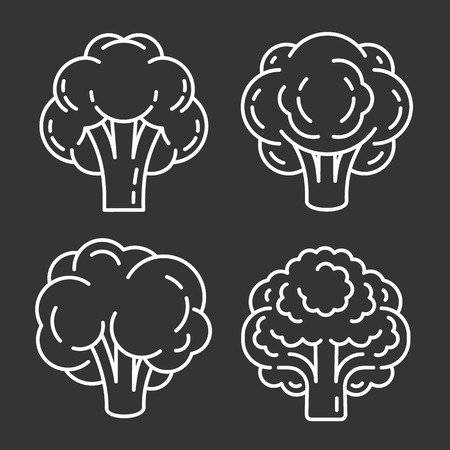 Brain icon set. Outline set of brain vector icons for web design isolated on gray background
