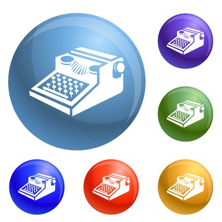 Newspaper typewriter icons set vector 6 color isolated on white background
