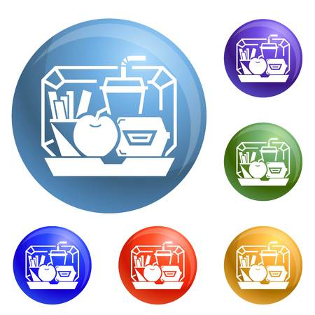 Mix lunchbox icons set vector 6 color isolated on white background