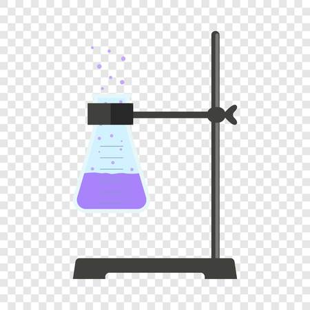 Test tube on stand icon. Flat illustration of test tube on stand vector icon for web design