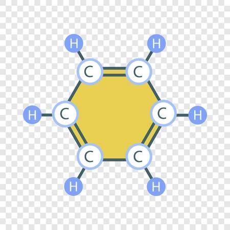 Benzene molecule icon. Flat illustration of benzene molecule vector icon for web design