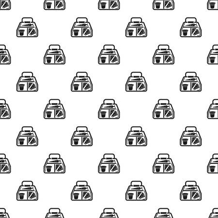 Vegan lunchbox pattern seamless vector repeat for any web design Stock Illustratie